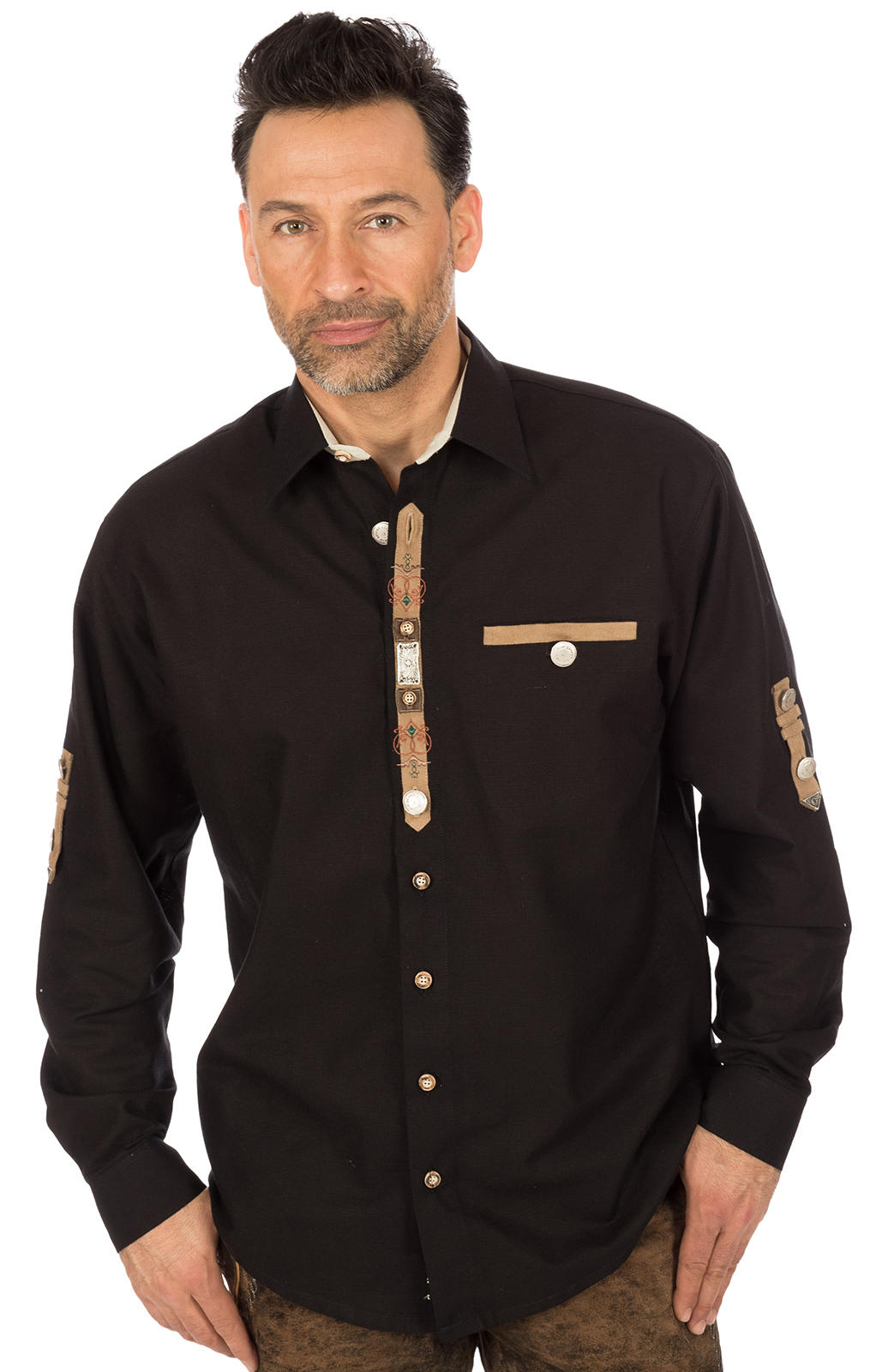 Trachtenhemd EDGAR schwarz von OS-Trachten