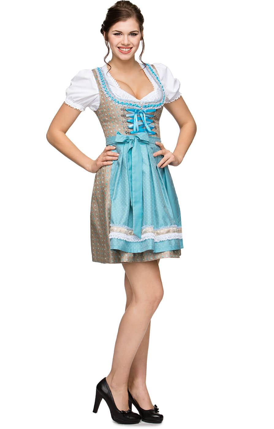 German Mini dirndl 2pcs. Michelle turquoise 55cm von Stockerpoint