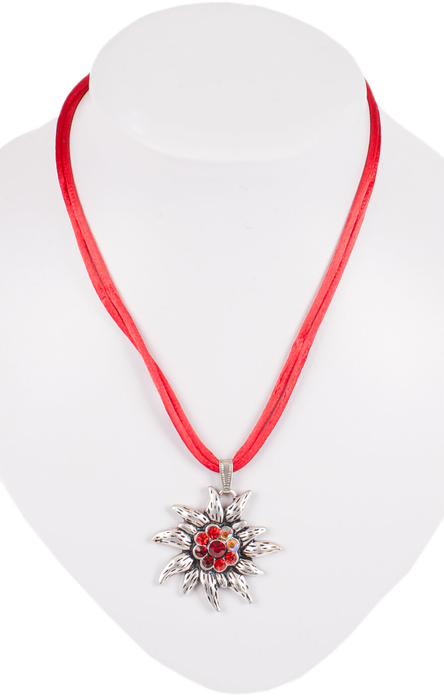 Traditional necklace K95 edelweiss, red von Stockerpoint