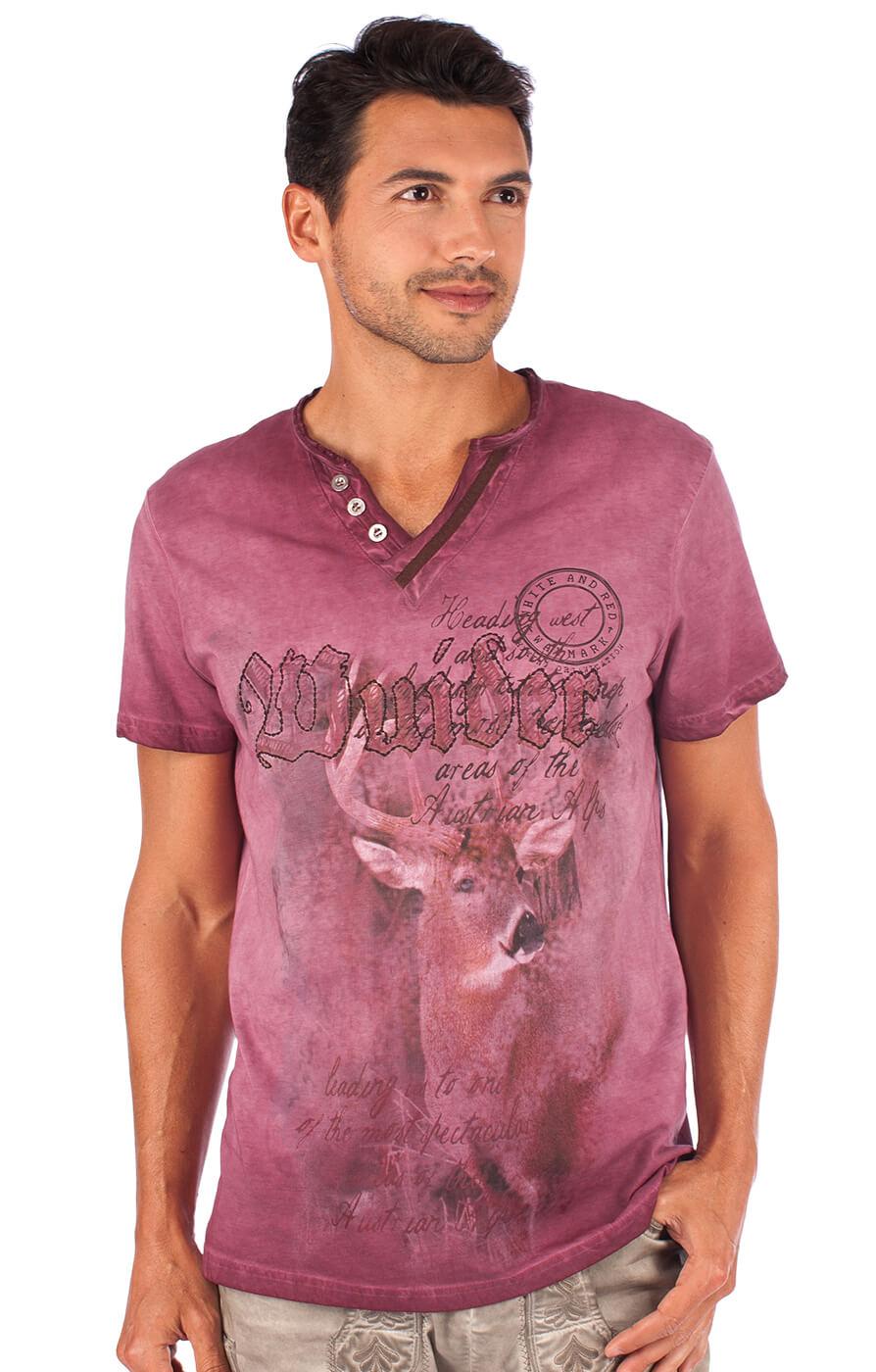 Trachtenshirt T-Shirt Uberto burgund von Marjo