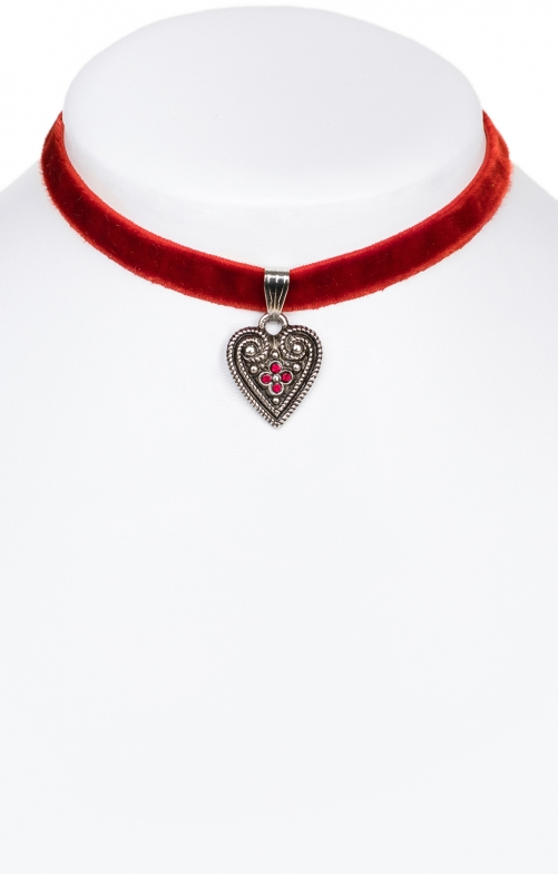 Traditional necklace with heart 9197-SB red