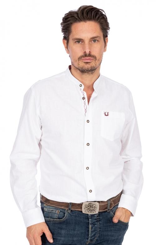 Stehkragenhemd 901391-109 weiß rot