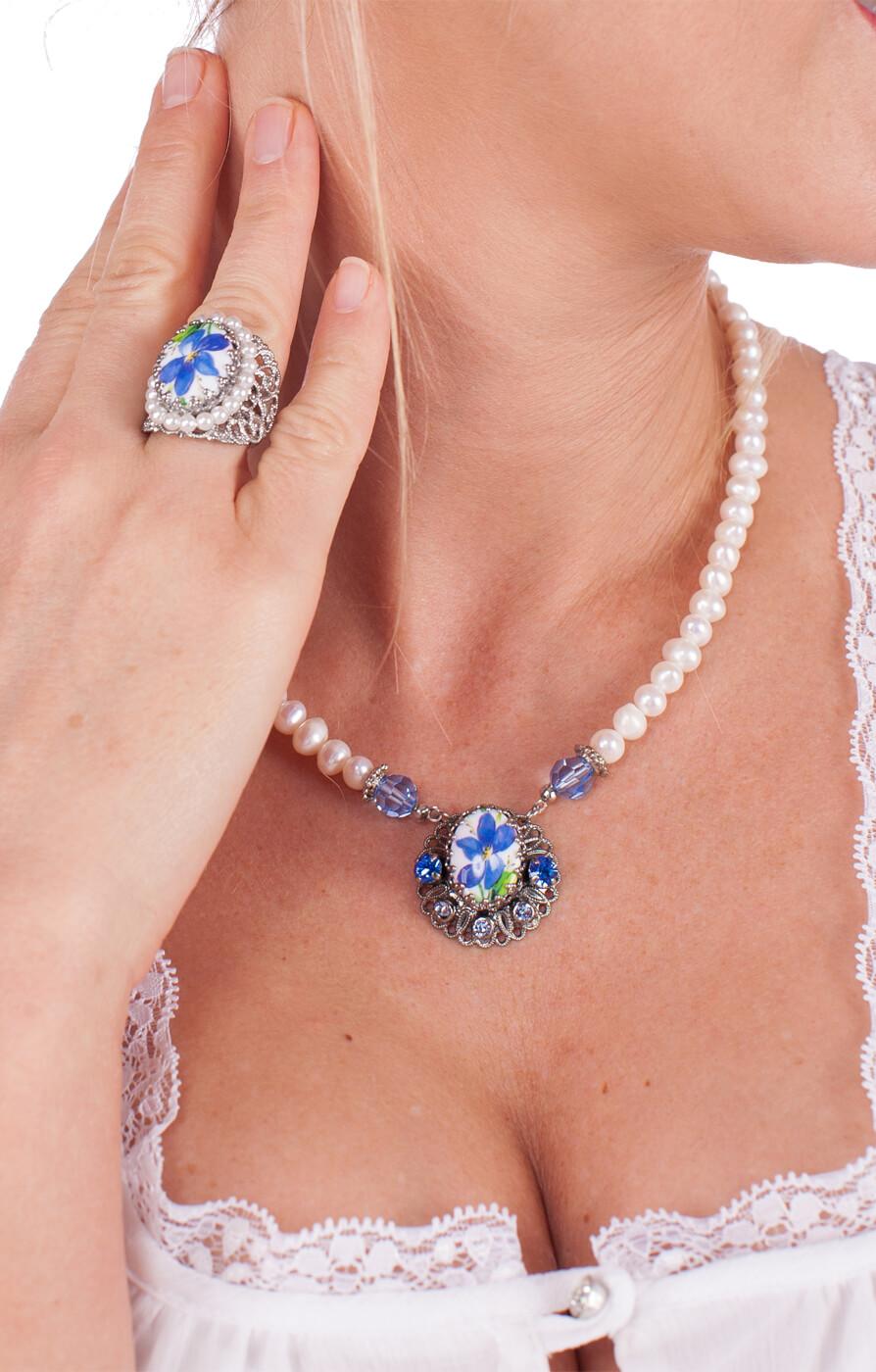 weitere Bilder von Collier 1799 Blumenanhänger, blau