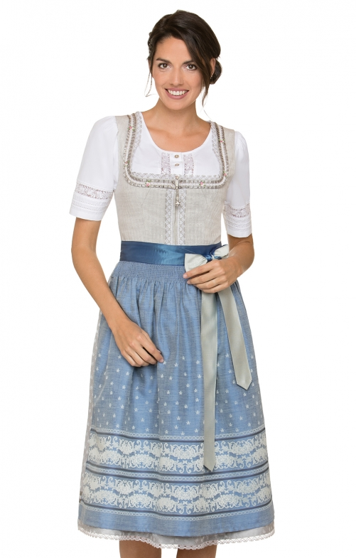 German Midi dirndl 2pcs. Lampa white blue 70 cm