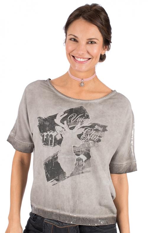 Trachten T-Shirt D37 - LUCI grau