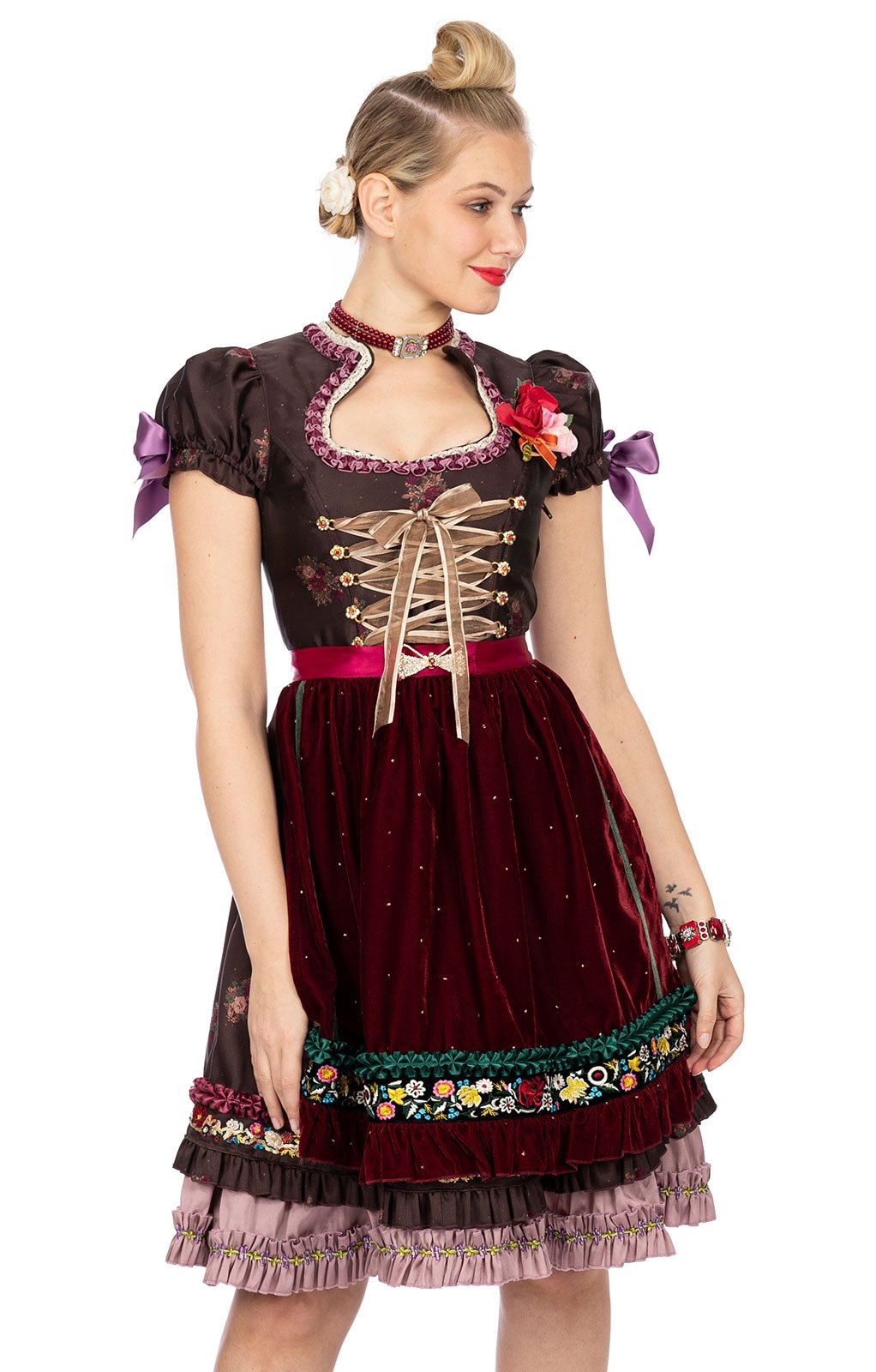 Midi Dirndl Lola Paltinger 2pz. 60 cm SHARON marrone bordó von Stockerpoint