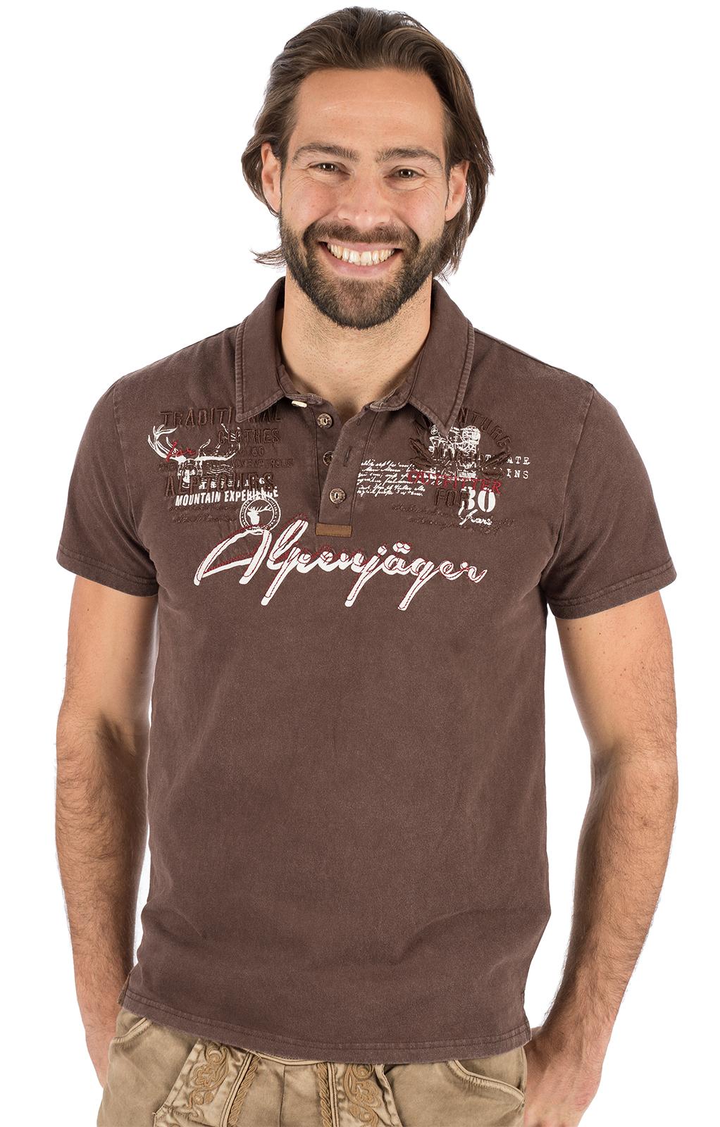 Trachten T-Shirt E09 - ALPENJAEGER braun von Marjo