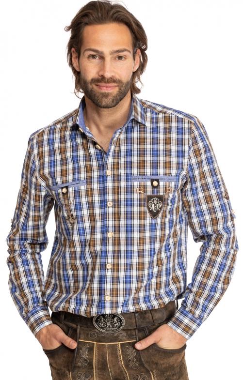 Karo Langarmhemd 420000-3784-65 braun blau