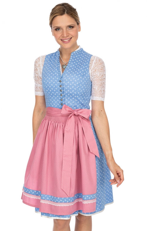 Mididirndl 2pcs. 60 cm BRITTA light blue pink