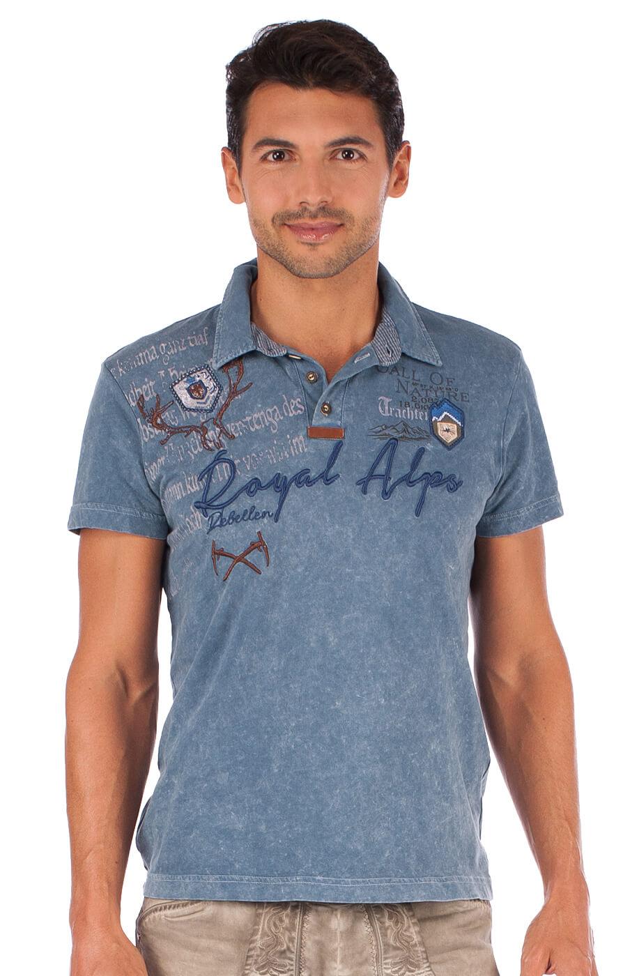 Traditional German T-Shirt Dirk blue von Marjo