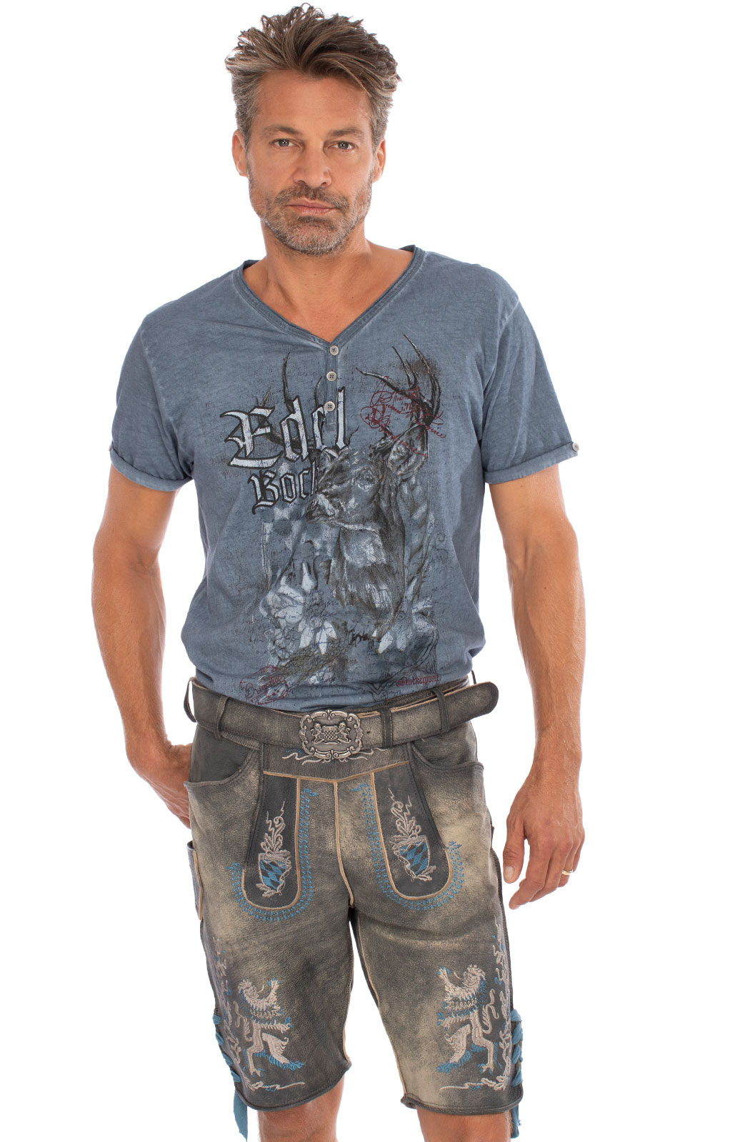 Traditional Leather Trousers with Belt BAYERNBUA Gray Antique