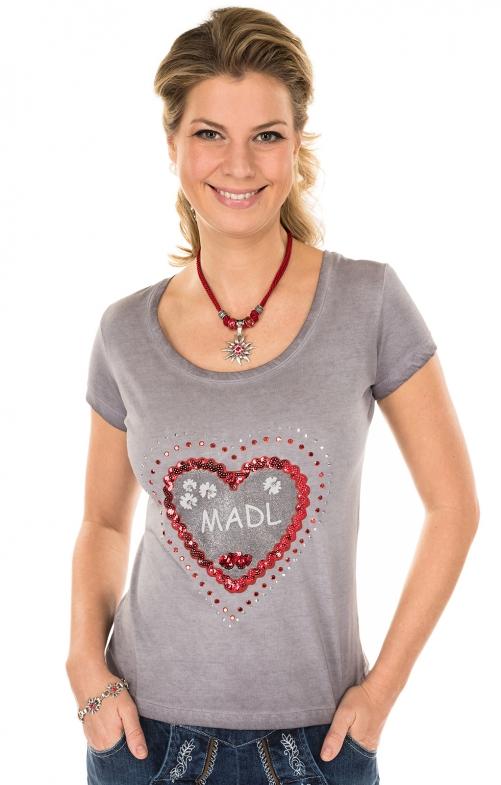 Trachten T-Shirt VIANA grau Herzmotiv